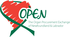 Draring of a heart and the words Open The organ procurement exchange of Newfoundland and Labrador